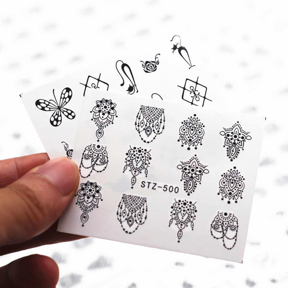 1 Pcs ยอดนิยมสีดำรูปแบบรูปลอกเล็บและสติกเกอร์ดอกไม้ต้นไม้สีเขียวฤดูร้อนที่เรียบง่าย Slider สำหรับเล็บ Art ลายน้ำ