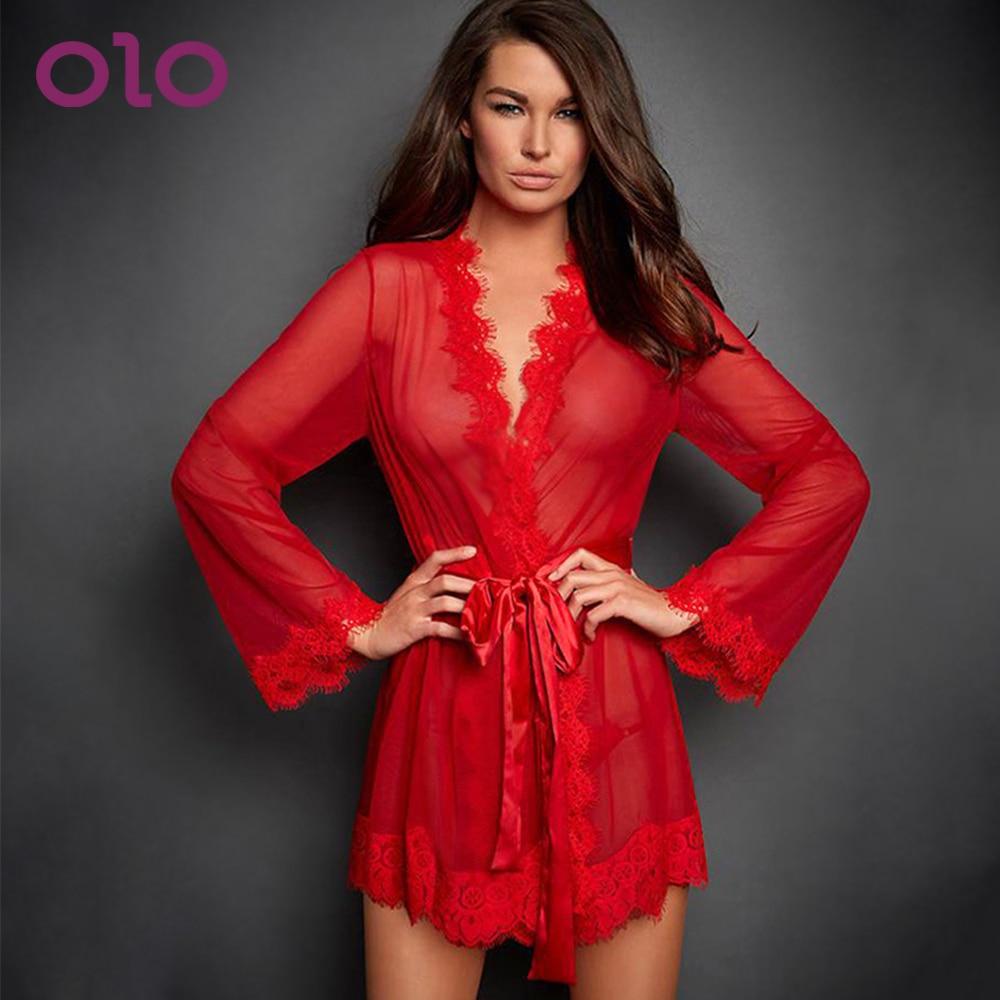 OLO Sexy Lingerie Erotic Transparent Dress With G-string Erotic Underwear Women Porno Sleepwear Sex Clothes Babydoll
