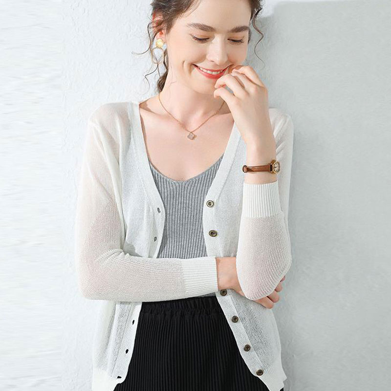 2020 Summer Cardigan Women V Neck Sweater Ladies Cardigan Summer Sweater Female Thin Long Sleeve Knitted Cardigan Knitwear
