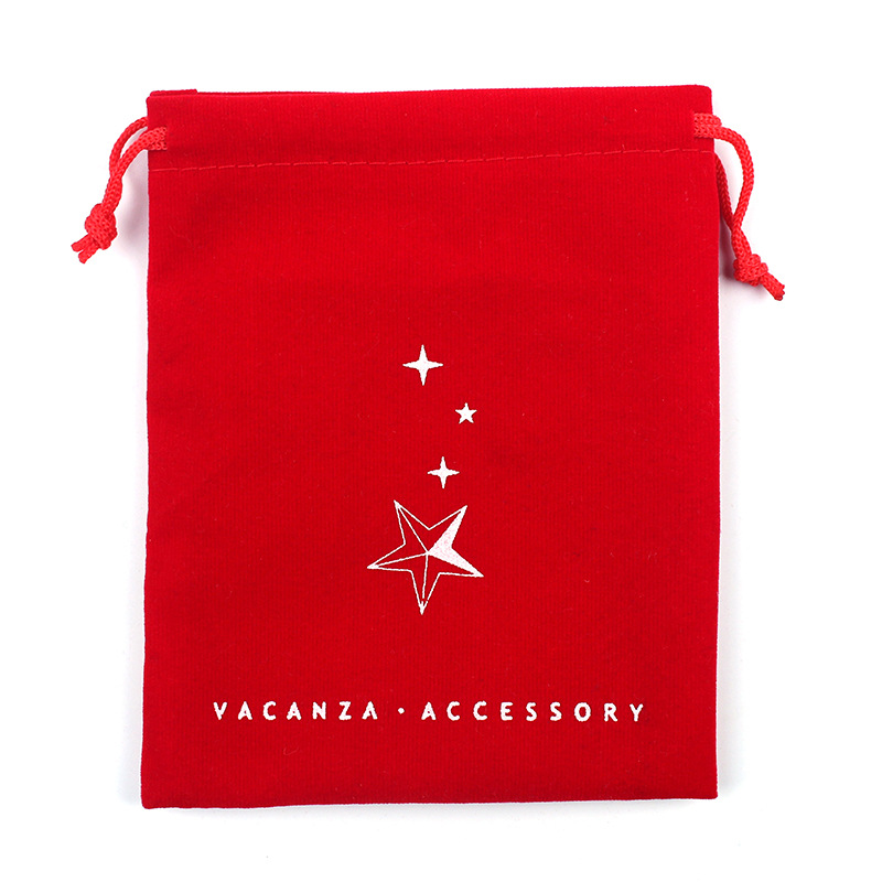 Small Wedding Jewellery Pouch Velvet Cloth Drawstring Bag With Logo Printing 15*18CM