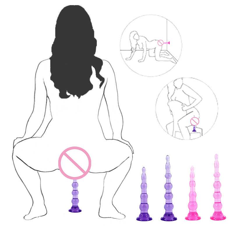 Mainan Seks untuk Wanita Gay Cangkir Hisap Kuat Steker Butt Anal Erotis Anus Dildo Plug Manik-manik Masturbasi G Spot Merangsang sexshop