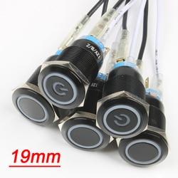 Черный корпус из оксида алюминия, 3 в, 5 В, 12 В, 24 В, 220 В, 19 мм, светодиодный светильник, водонепроницаемый кнопочный переключатель, красный/зеле...