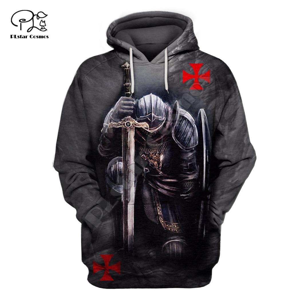 Men Women Knights Templar Print 3d Hoodie Funny Soldier Sweatshirt Zipper Jacket Unisex Streetwear Casual Tracksuit Pullover