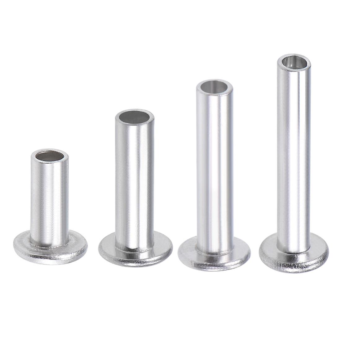 100Pcs 4mm x 18mm Aluminum Flat Head Semi-Tubular Rivets Silver Tone