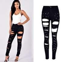Зимние рваные джинсы в стиле бойфренда с высокой талией для