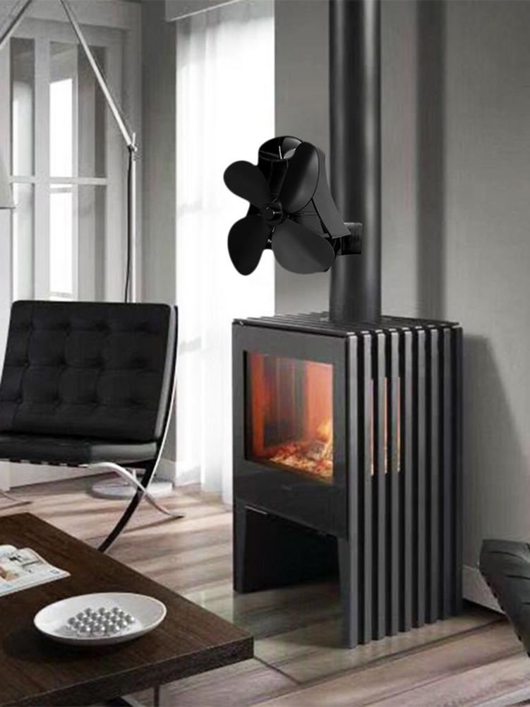 Black 3 Blades Heat Powered Stove Fan Log Wood Burner Ecofan Quiet Black Home Fireplace Fan Efficient Heat Eco Stove Top Fan