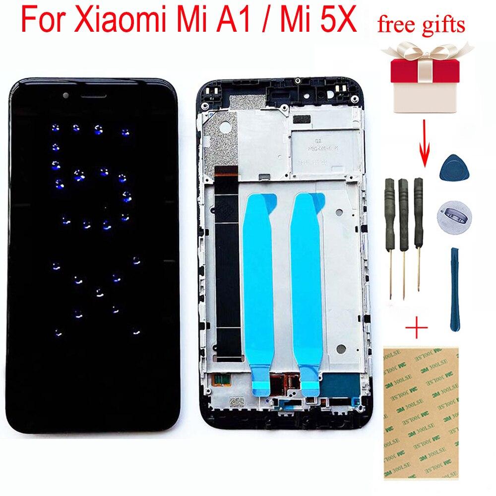 For Xiaomi Mi A1 MiA1 Mi 5X Mi5X Touch Screen Digitizer Glass Sensor Panel + LCD Display Screen Monitor Module Assembly + Frame