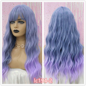 Image 5 - EASIHAIR Long Wave Blue Synthetic Wigs With Bangs Cosplay Wigs for Black White Women 8 Colors Heat Resistant Fake Hair
