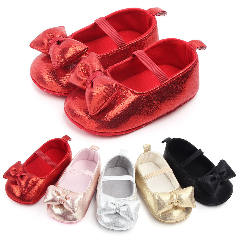 Glitter Newborn Booties Princess Baby Girls Shoes Soft Sole Toddler Kids Crib Shoes Party Bowknot Anti-slip First Walker 0-18M