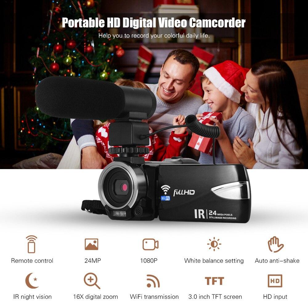 1080P FHD appareil photo numérique multifonction caméscope DV enregistreur 24MP prise en charge IR Vision nocturne WiFi pour une utilisation de voyage à domicile