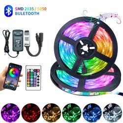 Светодиодный полосы света RGB Bluetooth Iuces 5050 SMD 2835 Водонепроницаемый Гибкая лампа лента диод DC12V 5, 10 м, 15 м, 20 м Цвет огни