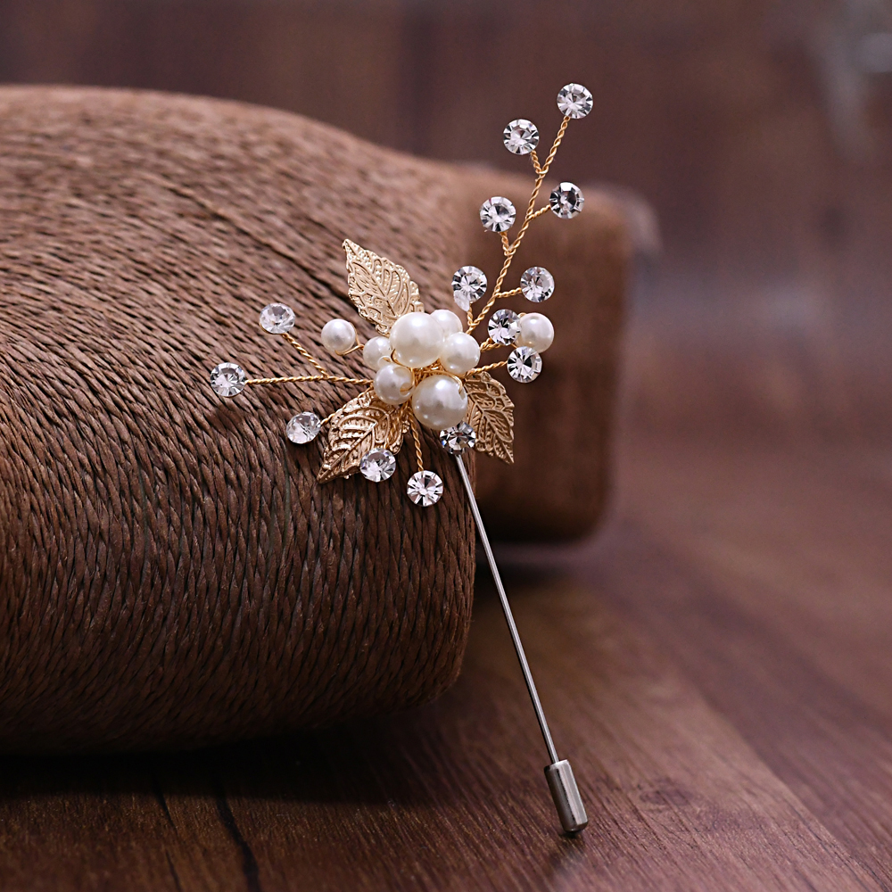 TRiXY XZ01-G Elegant Golden Leaf Wedding Corsage Bridegroom Brooch Boutonniere Women Brooch Crystal Sparkly Pearls Grooms Brooch