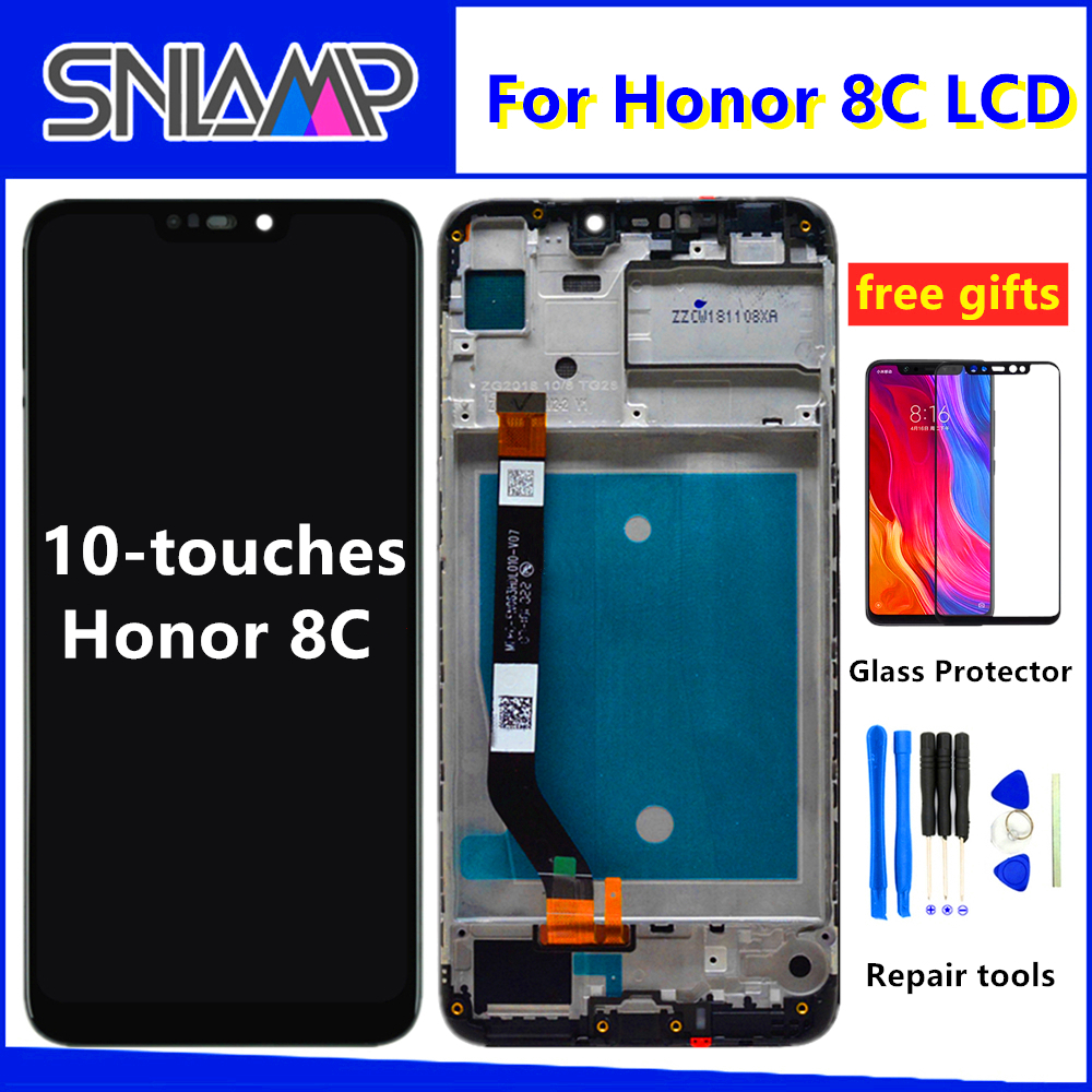 Original 6.26''+Frame LCD For Huawei <font><b>Honor</b></font> <font><b>8C</b></font> LCD <font><b>Display</b></font> <font><b>Touch</b></font> <font><b>Screen</b></font> Digitizer Assembly For <font><b>Honor</b></font> Paly <font><b>8C</b></font> BKK-AL10 BKK-L21 LCD image