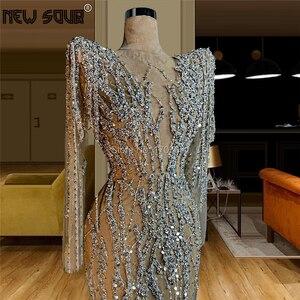 Image 2 - Sheer Diamant Kralen Avondjurken Voor Dubai Arabisch 2020 Robe De Soiree Lange Handgemaakte Prom Jurk Midden oosten Celebrity Party