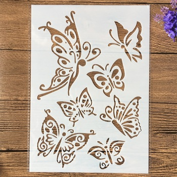 1Pcs A4 Butterflies DIY Layering Stencils Wall Painting Scrapbook Coloring Embossing Album Decorative Template