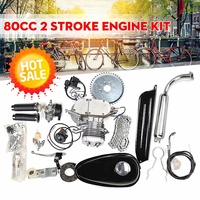 Upgraded 80cc 2 Stroke Motorized Bicycle Gas Engine Motor Kit with Speedometer Black Low Noise Low Vibration Heavy Metal