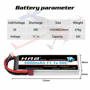Image 2 - 2pcs HRB 11.1V 5000mah Lipo Battery 3S 50C with T Deans plug for 1/12 1/10 RC car truck Monster RC Boat FPV Drone frame
