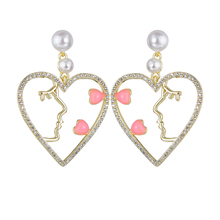 Korean Fashion Sweet Pearl Earrings Lovely Heart Shaped Hollow Exaggerated For Women