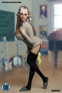 Image 4 - 1/6 בקנה מידה ילדה ראש לפסל סקסי קוספליי בגדי סט SET037 עבור 12 סנטימטרים נשי TBLeague גדול שד גוף פעולה איור