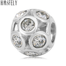 HMSFELY 316L Stainless Steel Hollow Crystal Beads For Jewelry Making Womens Pink Big Hole Charm Accessories DIY Bracelets