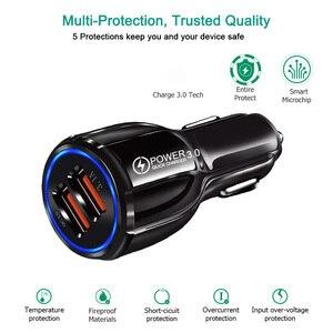 Image 5 - Chargeur de voiture Charge rapide 3.0 QC 3.0 adaptateur de Charge rapide double USB chargeur de voiture pour iphone Micro USB Type C câble chargeurs de téléphone