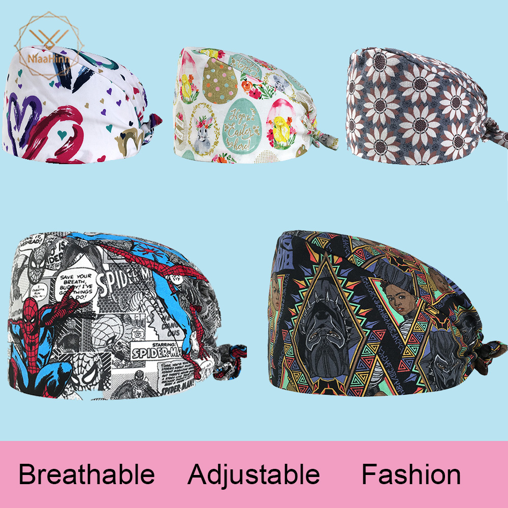 Unisex Medical Clothing Women Medical Beauty Cap Man Doctor Nurses Printing Scrub Cap + Mask Medical Surgical Surgery Hat NEW