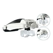 1X-14X 6 Сменные линзы, часовая Налобная лупа, освещенная лупа, увеличительное стекло с подсветкой, увеличительные защитные очки, лупы