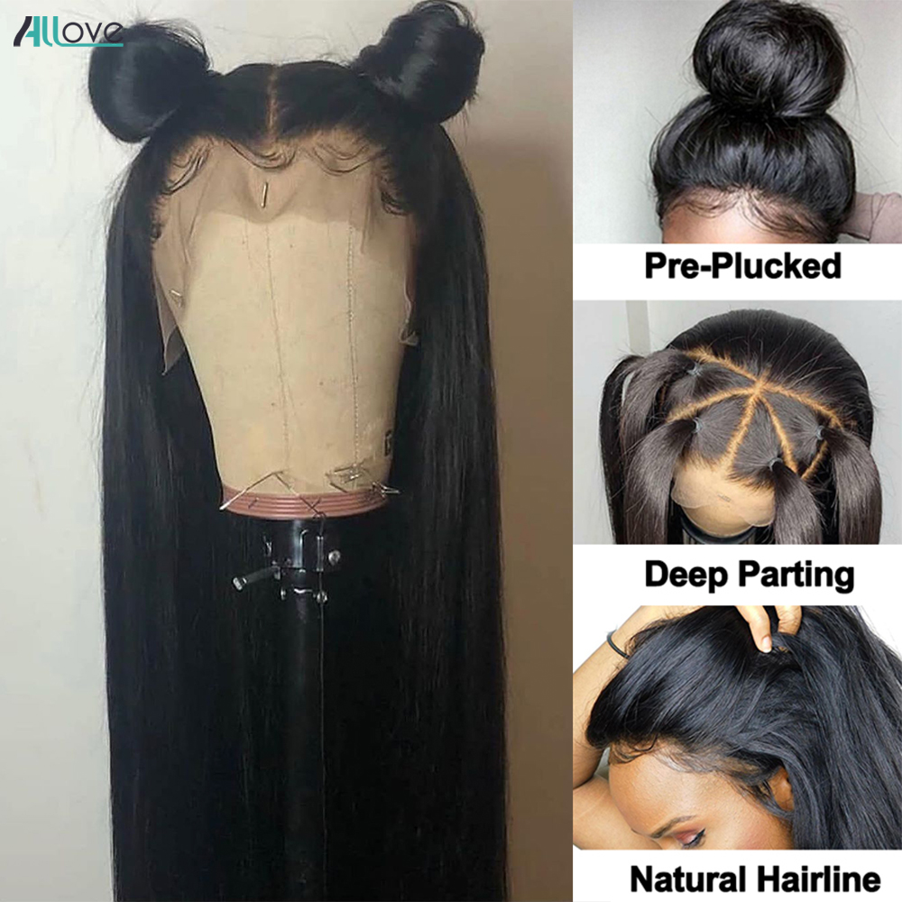 Allove Bone Straight Lace Front  Wigs for Black Women Transparent 13x4 Lace Frontal Wig  Closure Wig 2