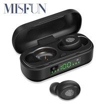 MISFUN TWS Bluetooth 5.0 אלחוטי אוזניות IPX 7 עמיד למים אוזניות מיני ספורט אוזניות 3D סטריאו קול אוזניות עם מיקרופון