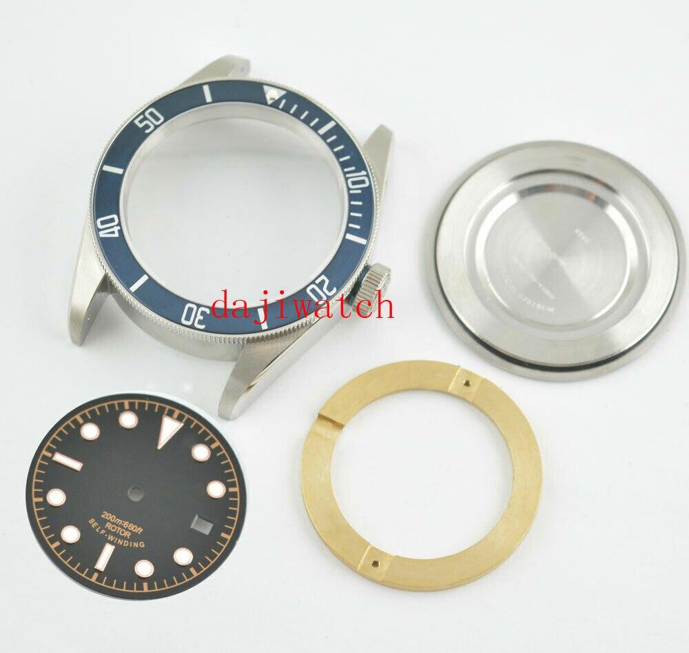 41mm Sapphire Glass Aluminum Bezel Watch Parts Case Dial fit ETA 2824 2836