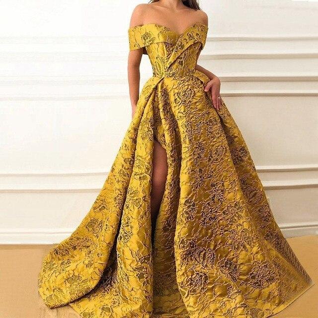 Gold Muslim Evening Dresses A-line Off The Shoulder Lace Slit Dubai Saudi Arabic Long Formal Evening Gown Prom Dress