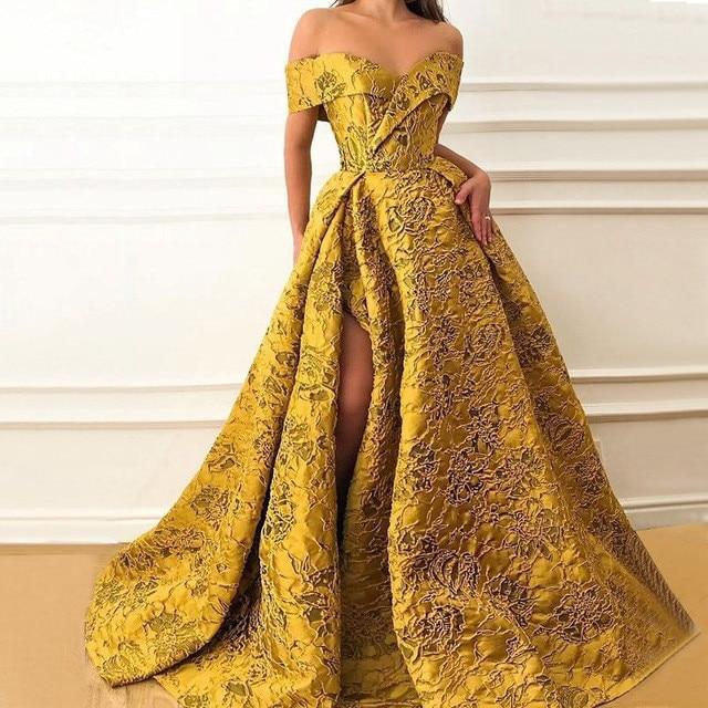 Gold Muslim Evening Dresses A line Off The Shoulder Lace Slit Dubai Saudi Arabic Long Formal Evening Gown Prom Dress