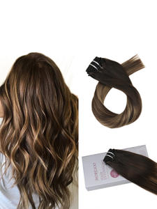 Moresoo Human-Hair-Extension Clip-In Color 7pcs 100g-Machine Balayage And Remy Full-Head
