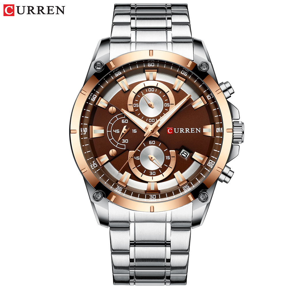 CURREN Men Sports Military Watches Casual Business Wristwatch Mens Quartz Stainless Steel Clock Male Chronograph and Date