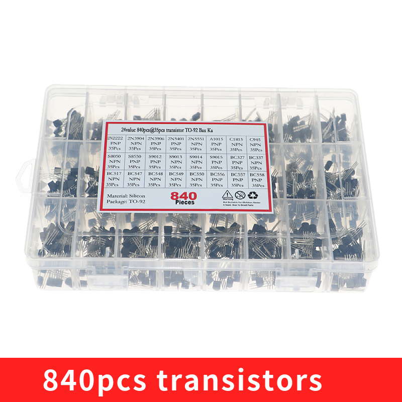 840pcs/set 24Values TO-92 Transistor Assortment Kit BC327 BC337 BC547 transistor 2N2222 3904 3906 C945 PNP/NPN transistors pack