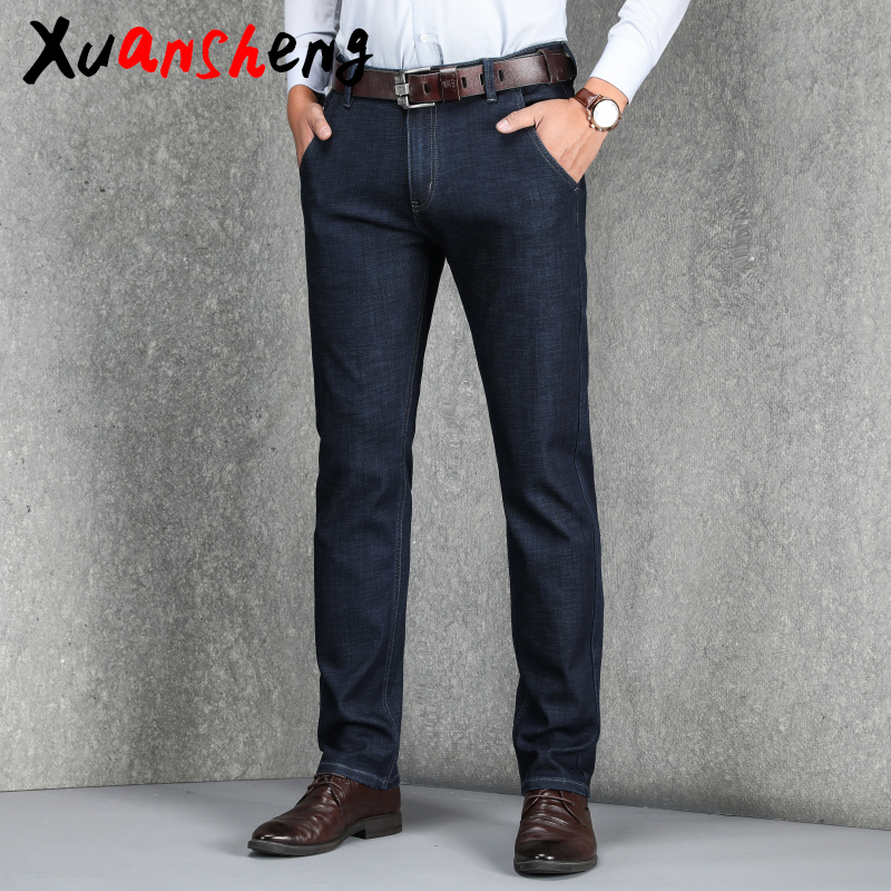 Xuan Sheng Stretch Men's Jeans 2019 Classic Fashion Boutique Shu Elastic Straight Long Pants Casual Blue Black Streetwear Jeans