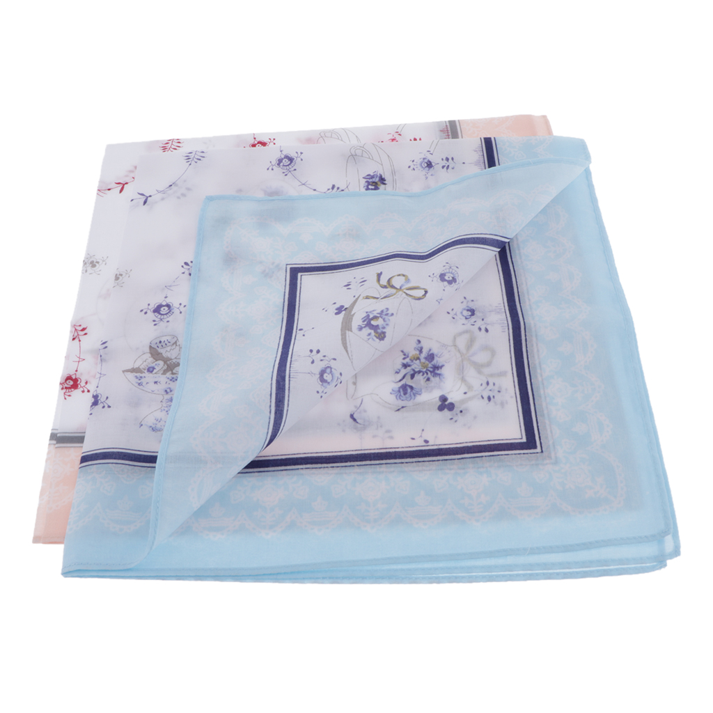 2pcs Woman Handkerchiefs Fabric In Pure Cotton Floral Print For Daily Use