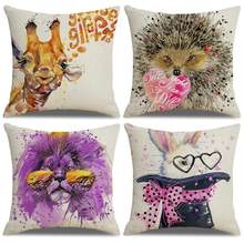 new Deer Giraffe Hedgehog Lion Linen Pillow Case Cushion Cover Sofa Bed Car Cafe Decor 45cm x 45cm(China)