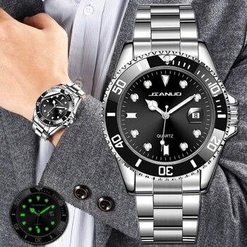 цена на New Men's Watch Luxury Business Watch Men Waterproof Date Green Dial Watches Fashion Male Clock Wrist Watch relogio masculino