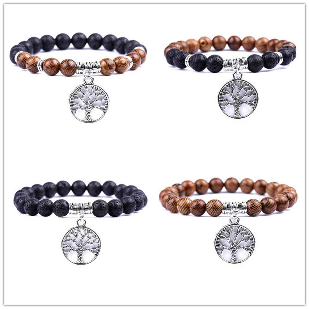 Tree of Life Charms Bracelets Essential Oil Perfume Diffuser 8mm Black Lava Stone Beads Bracelet Women Men Jewelry