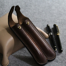 Handmade Simple Style Leather Pen Pencil Double pen Case Holder Box Bag Storage Container Outdoor Tool