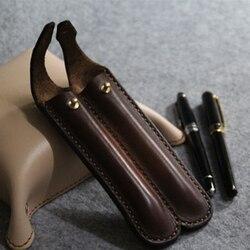 Handmade prosty styl skórzany długopis ołówek podwójny piórnik pojemnik na pudełko torby do przechowywania pojemnik narzędzia do pracy na zewnątrz