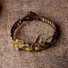 Этнический браслет для женщин, очаровательный браслет, медный цветок, желтый камень, бусинки-колокольчики, цепочка, винтажное ювелирное изделие, мода