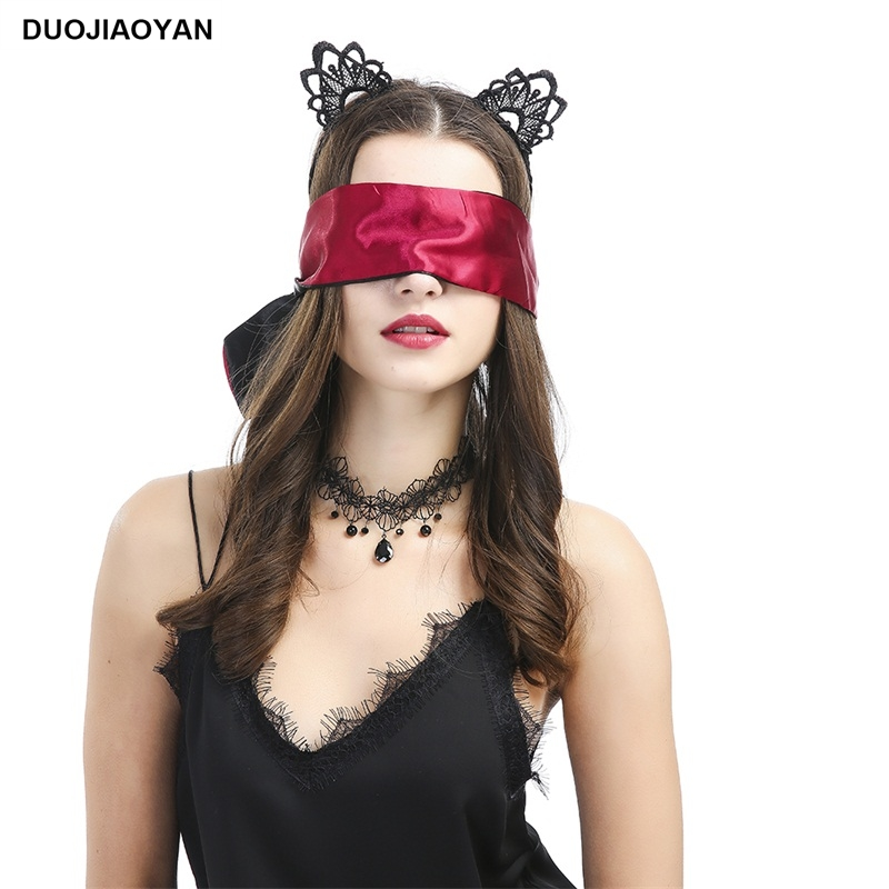 DUOJIAOYAN Women Adult Flirting Eye Band Black Silky Blindfold Sex Toy Sexy Bondage Restraints Black Long Blindfold