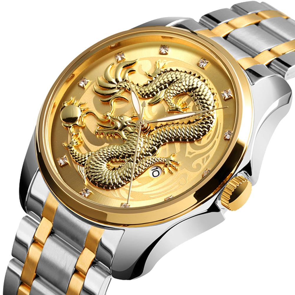 SKMEI 9193 Luxury Golden Quartz Watch Men Calendar Luminou Chinese Embossed Dragon Stainless Steel Wristwatch Relogio-Masculino