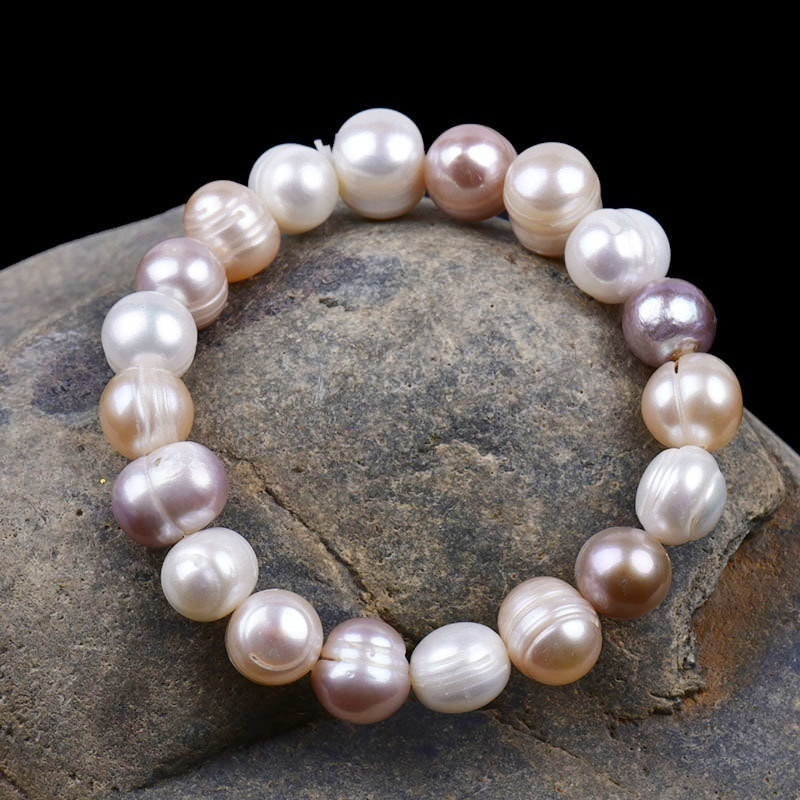 8mm Shell Pearl Bracelet Tricolor Natural Freshwater Pearl Charm Elastic Bangle Women Fine Jewelry Party Anniversary WeddingGift