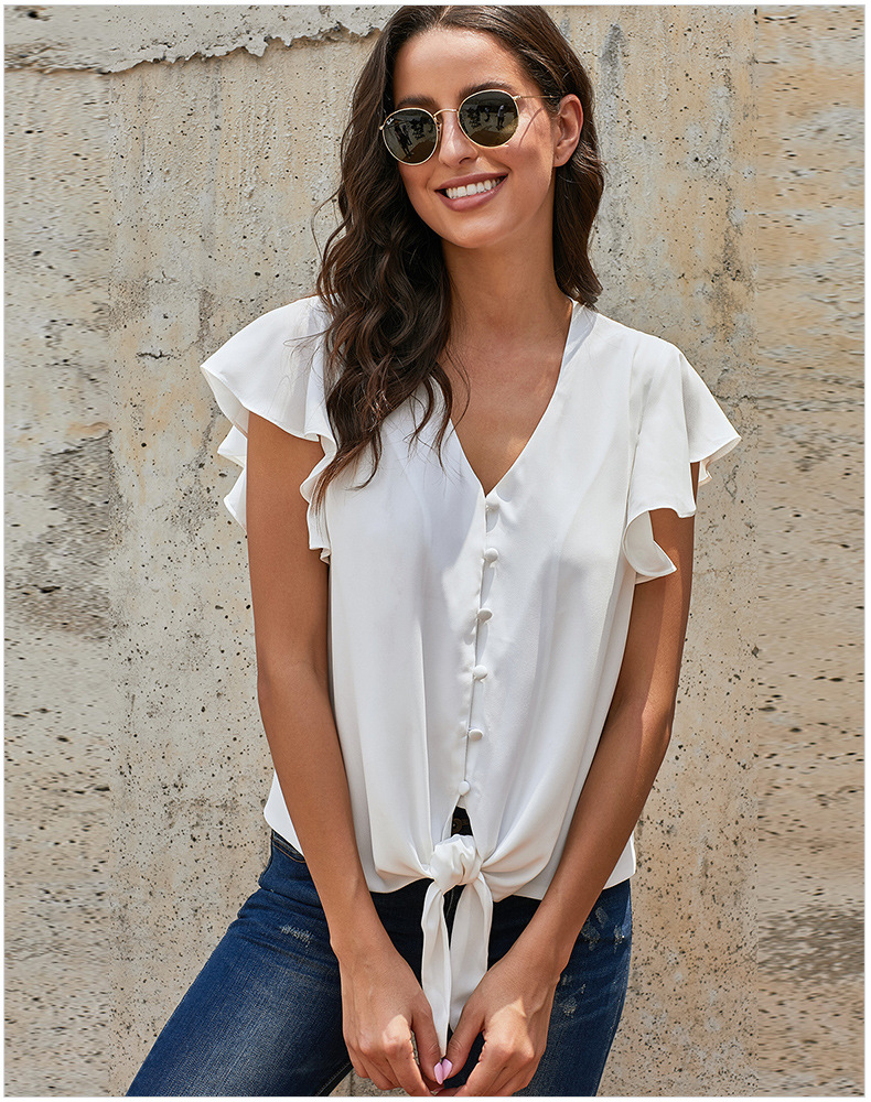 CAWA Elegant High Quality Plus Size Button Blouse Loose Solid Bow Tie Chiffon Blouse Shirt SummerRuffle Fashion Sleeve Top
