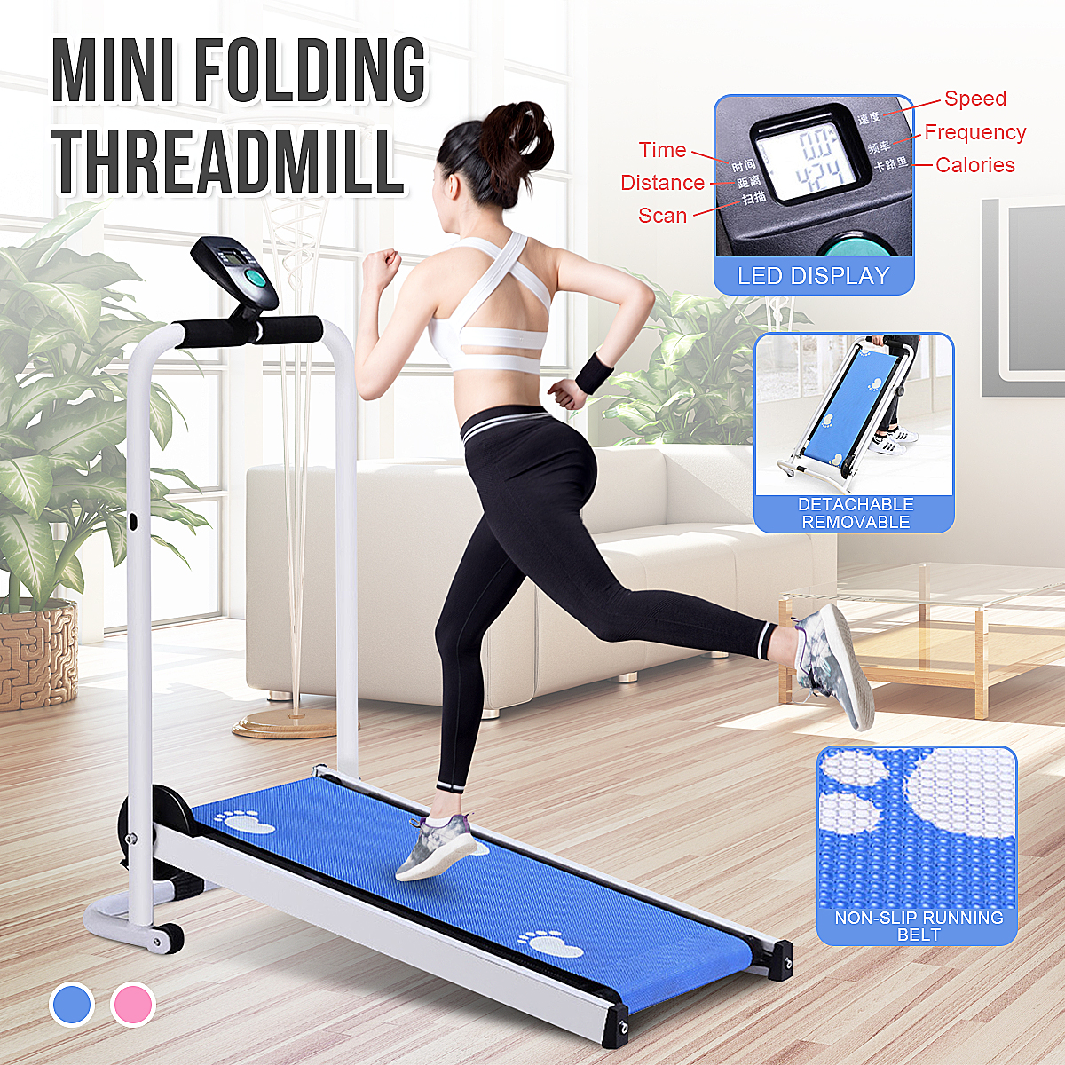Electric Foldable Treadmill LED Display Jog Space Walk Machine Aerobic Sport Fitness Equipment No Floor Space Easy To Move