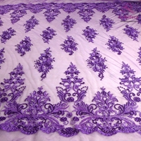 New fashion ivory/black/purple/golden yellow heavy beads on netting embroidered wedding dress/evening dress lace fabric one yard