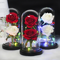 Красавица и Чудовище две розы, Роза в стеклянном куполе, вечная розовая, красная роза, сохраненная Роза, специальная Роза Белль, романтическ...